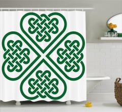 Geometrik Yonca Düğüm Desenli Duş Perdesi Yeşil