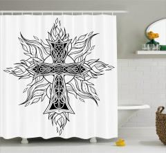 Haç ve Çiçek Formlu Alev Desenli Duş Perdesi Dini