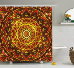 Sarı Turuncu Güneş ve Yaprak Desenli Duş Perdesi Şık