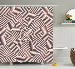 Kahverengi Geometrik Desenli Duş Perdesi Şık Tasarım