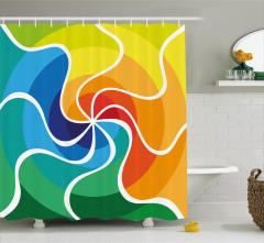 Rengarenk Girdap Desenli Duş Perdesi Şık Tasarım