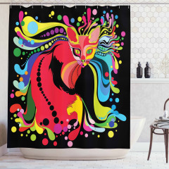 Rengarenk Kedi Desenli Duş Perdesi Siyah Arka Planlı