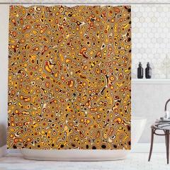 Sarı Kahverengi Şal Desenli Duş Perdesi Şık Tasarım
