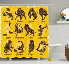 Kahverengi Burç Desenli Duş Perdesi Sarı Arka Planlı