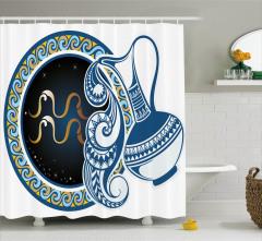 Kova Burcu Desenli Duş Perdesi Sarı Mavi Lacivert