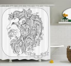 Siyah Beyaz Aslan Burcu Desenli Duş Perdesi Çiçekli