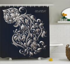 Çiçekli Kova Burcu Desenli Duş Perdesi Lacivert Fon