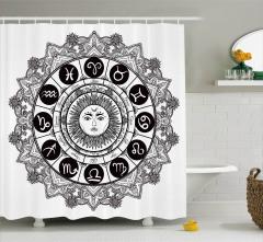 Güneşli Oniki Burç Desenli Duş Perdesi Siyah Beyaz