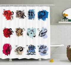 Rengarenk Oniki Burç Desenli Duş Perdesi Dekoratif