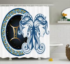 İkizler Burcu Desenli Duş Perdesi Lacivert ve Mavi