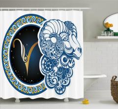 Koç Burcu Desenli Duş Perdesi Mavi Sarı ve Lacivert