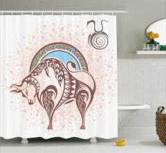 Bej Boğa Burcu Desenli Duş Perdesi Mavi Sarı ve Bej