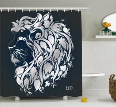 Çiçekli Aslan Burcu Desenli Duş Perdesi Lacivert