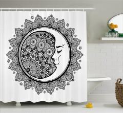 Çiçekli Aydede Desenli Duş Perdesi Siyah ve Beyaz