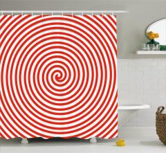 Kırmızı Beyaz Girdap Desenli Duş Perdesi Dekoratif