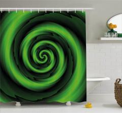 Sarı Yeşil Girdap Desenli Duş Perdesi Şık Tasarım