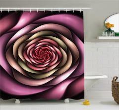 Mor Pembe Girdap Çiçek Desenli Duş Perdesi Dekoratif