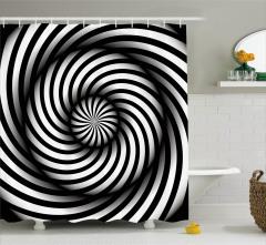 Şık Girdap Zebra Desenli Duş Perdesi Siyah ve Beyaz
