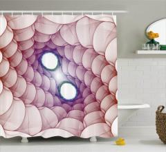 3D Etkili Girdap Desenli Duş Perdesi Kırmızı ve Mor