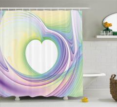 Mor Yeşil Kalp Girdap Desenli Duş Perdesi Dekoratif