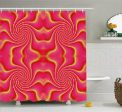 Pembe ve Sarı Girdap Desenli Duş Perdesi Dekoratif
