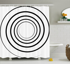 Şık Siyah Beyaz Dairesel Desenli Duş Perdesi Girdap