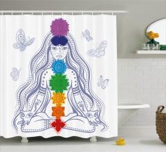 Meditasyon ve Kelebek Desenli Duş Perdesi Çiçekli