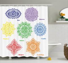 Rengarenk Çiçek Desenli Duş Perdesi Hint Etkili