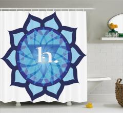 Mavi Lotus Çiçeği Desenli Duş Perdesi Beyaz Fonlu