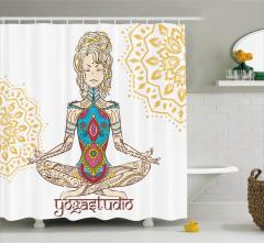 Yoga ve Rengarenk Kız Desenli Duş Perdesi Krem Beyaz