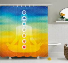 Sarı Mavi Meditasyon Desenli Duş Perdesi Çakralı
