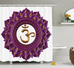 Hint Etkili Lotus Desenli Duş Perdesi Mor ve Altın