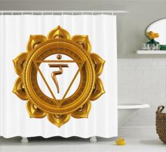Hint Etkili Altın Lotus Desenli Duş Perdesi Beyaz