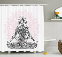 Meditasyon ve Pembe Lotus Desenli Duş Perdesi Beyaz