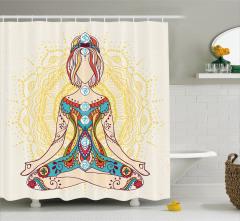 Rengarenk Meditasyon Desenli Duş Perdesi Çiçekli