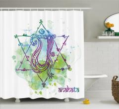 Hint Etkili Pentagram Desenli Duş Perdesi Yeşil Mavi