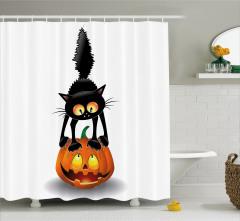 Kedi ve Bal Kabağı Temalı Duş Perdesi Turuncu Siyah