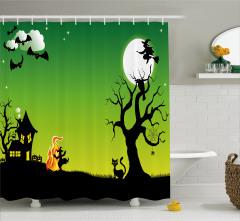 Süpürgeli Cadı Desenli Duş Perdesi Yarasa Ağaç Yeşil