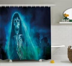 Cadılar Bayramı Temalı Duş Perdesi Mavi Hayalet