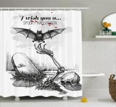 Siyah Beyaz Duş Perdesi Cadılar Bayramı Yarasa Kemik