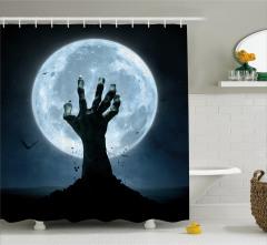 Zombi Desenli Duş Perdesi Dolunay Korku Orman Siyah