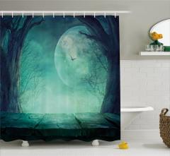 Orman ve Dolunay Temalı Duş Perdesi Yeşil Ay Ağaç