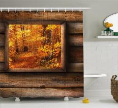 Sonbahar Manzaralı Duş Perdesi Turuncu Yapraklar