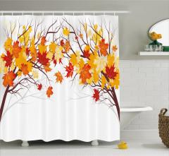 Sonbahar Temalı Duş Perdesi Dökülen Yapraklar Sarı