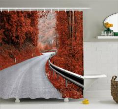 Sonbaharda Yolculuk Temalı Duş Perdesi Romantik Yol