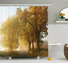 Doğada Yolculuk Temalı Duş Perdesi Sonbahar Ağaçlar