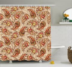 Bej Duş Perdesi Rengarenk Sonbahar Yaprakları Şık
