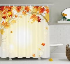Sonbahar Temalı Duş Perdesi Turuncu Sarı Yapraklar