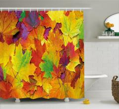 Sonbahar Temalı Duş Perdesi Rengarenk Yapraklar