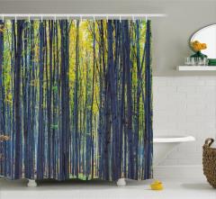 Orman Manzaralı Duş Perdesi Doğada Sonbahar Temalı